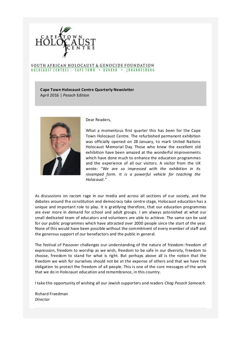 CTHC Newsletter April 2016