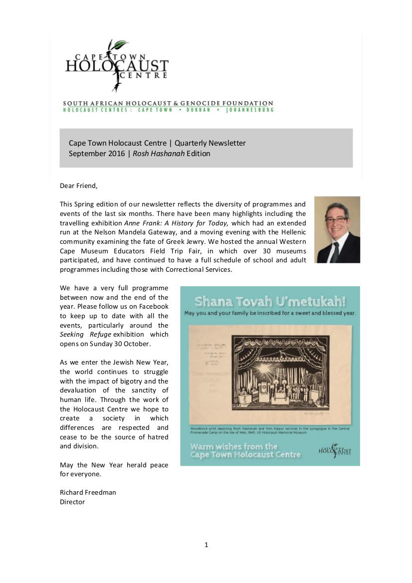 CTHC Newsletter Sept 2016