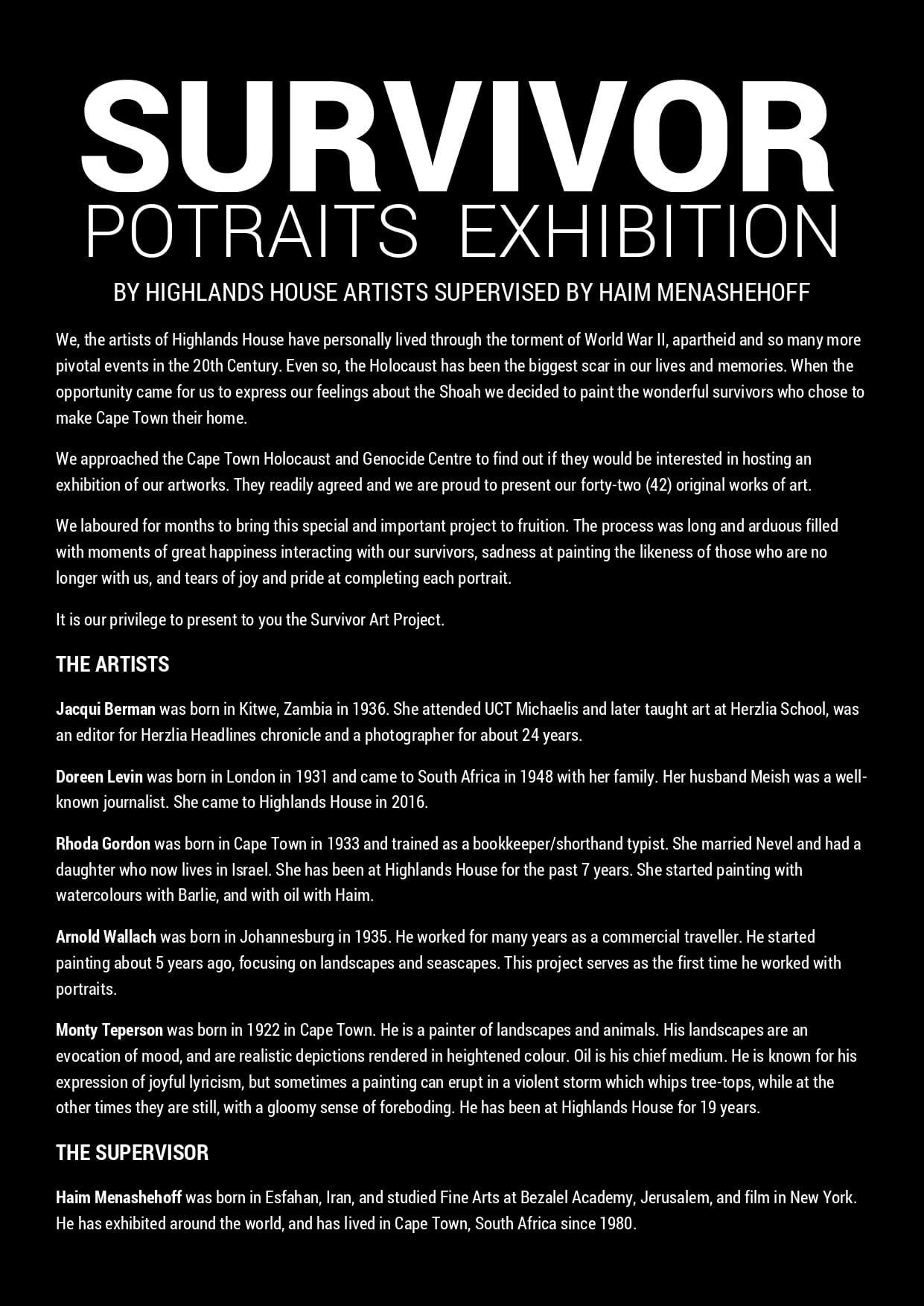 Survivors Portraits Exhibition CTHGC 1